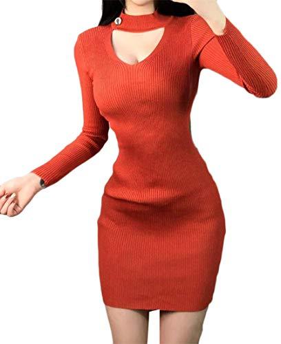 Donne Orange1 Di Girocollo A Vestito Lunga Solido Manica Del Moda Serratura Jsyau Maglia Metà Aderente Cime Della Buco Lunghezza A Maglioni 1pxdqwnW