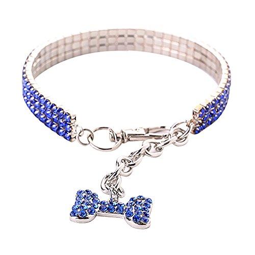 JIN+D Cute Mini Pet Dog Bling Rhinestone Necklace Chocker Collar Jewelry Puppy Necklace