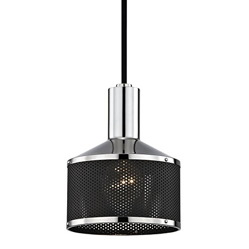 Mitzi by Hudson Valley Lighting Mitzi by Yoko 1-Light Polished Nickel Pendant with Black Accents