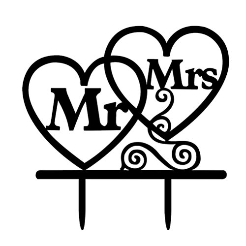 WINOMO Mr & Mrs Heart-Shaped Acrylic Mr and Mrs Sign Wedding Sweetheart Table Decorations Decorative Letters for Photo Props Party -