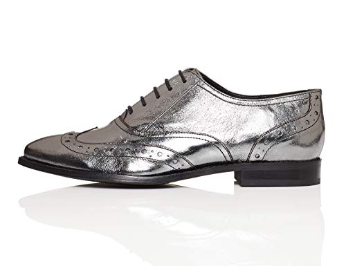 Zapatos Find Metallic Brogue pewter Metallic Gris Mujer Pewter vwFqw