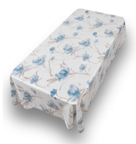 The Pecan Man Tablecloth Rectangle Flower Blue Flannel back Vinyl Tablecloths 52