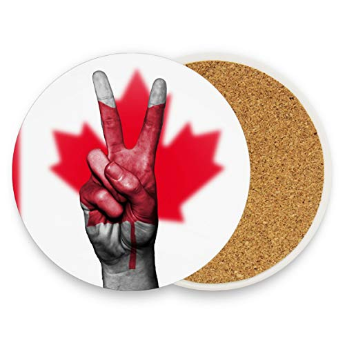 LUPINZ Canada Flag Peace Hand Coasters For Drinks Best Housewarming Beverage Drink Beer Wedding Registry Gift