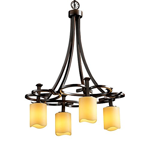 Justice Design Group CandleAria 4-Light Chandelier - Dark Bronze Finish with Amber Faux Candle Resin ()