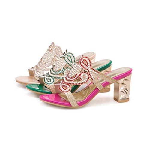 Las Vestido pie Zapatos Ocasional en del de Dedo abren la Mujeres Sandalias el del Talón Diapositiva del Rhinestone Las Gold de Mulas Resbalón del Atractivas de 0ZCSxA