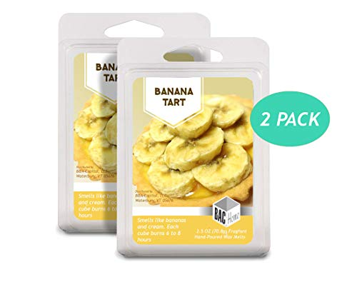 BAC Home Banana Tart Soy Blend Scented Wax Cube Melts, 2.5 oz, [6 Cubes] (2)