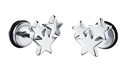 Mens Womens Titanium Star Stud Earring Men - Sparkle Titanium