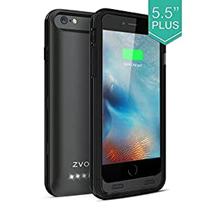 iPhone 6S Plus Battery Case, iPhone 6 Plus Battery Case, ZVOLTZ ZT6+ iPhone 6/6S Plus Battery Case (5.5 Inches) - [Black/Black] - 4000mAh External Protective Charging Case Extended Backup Battery Pack