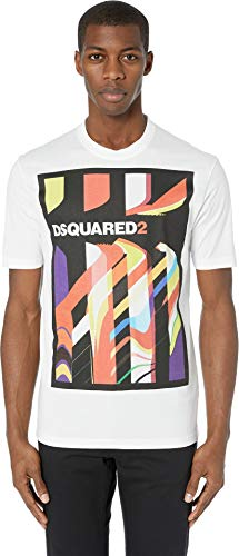 DSQUARED2 Men's Abstract Stud Fit T-Shirt White Large