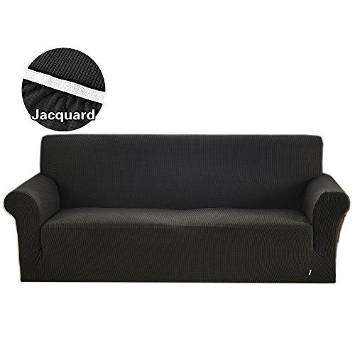Argstar Jacquard Sofa Slipcover Soft Elastic Black