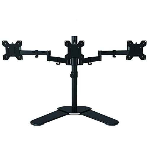 Free-Standing Dual Arm Monitor Desk Stand Fully Adjustable Mount Bracket...