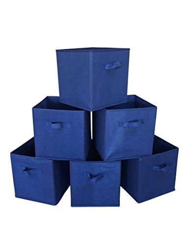 Sodynee Foldable Cloth Storage Cube Basket Bins Organizer Containers Drawers, 6 Pack, Blue by Sodynee