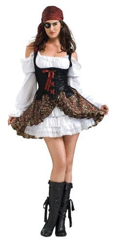 Secret Wishes  Buccaneer Babe Costume, Black, Large