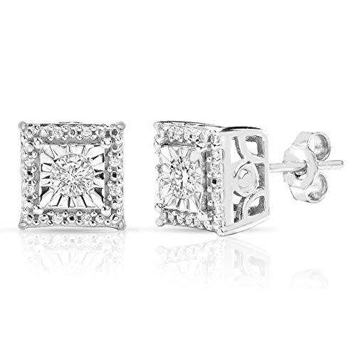 Sterling Silver 1/4CTW HALO Genuine Square Princess Pair of Diamond Earrings (Princess Square White)