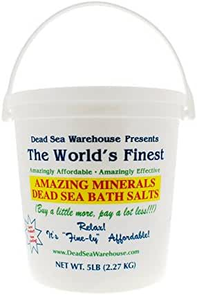 Dead Sea Warehouse - Amazing Minerals Dead Sea Bath Salts, Temporary Relief From Dry Itchy Skin, Aches & Pains, Exfoliates & Moisturizes, 100% Full Mineral (5 Pounds)