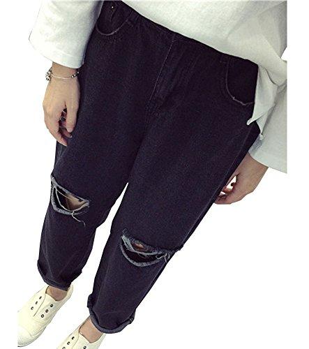 Desgarrados Boyfriend Mujer Vaqueros Negro Talla Anchos Grande Loose Jeans Para 7pxOqOdRwU