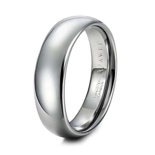 AW Wide 8mm Tungsten Wedding Band Comfort Fit Silver Wedding Ring Dome Polished Engagement Ring Size - Tuscan Wedding Rings