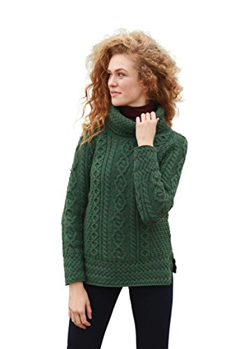 Aran Woollen Mills Ladies Vented Roll Neck Merino Wool Jumper (XSmall)