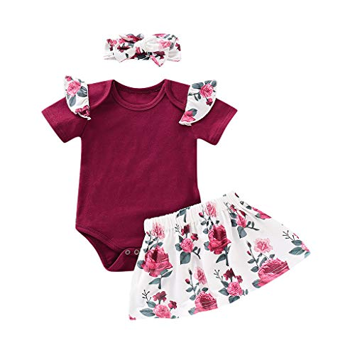 AutumnFall 3PCS Infant Baby Girls Floral Print Jumpsuit Romper Tops+Skirts+Headbands Outfits 3-24M (Age:6-12 Months, Wine)