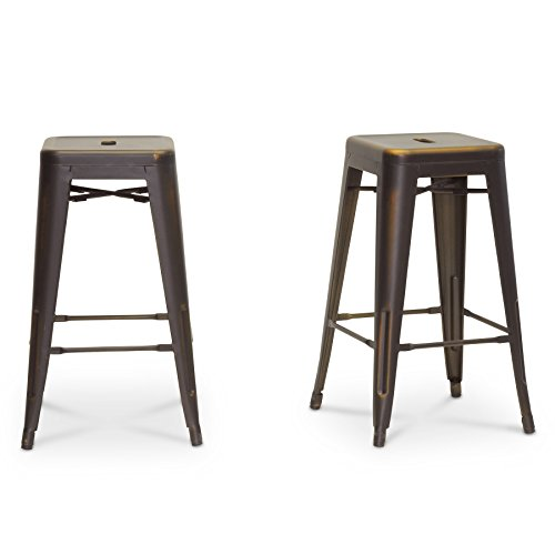 Wholesale Interiors Steel Bar Stool - Baxton Studio French Industrial Modern Counter Stool, Antique Copper, Set of 2