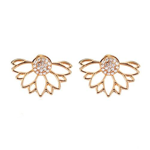 UNKE Sunflower With Single Row Drilling Rhinestone Womens Stud Earrings ,Gold