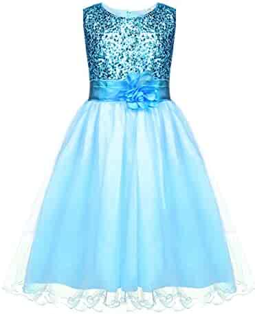 e56fe86fb50e HOTOUCH Girls Flower Sequin Sleeveless Princess Tutu Tulle Occasion  Birthday Party Dress