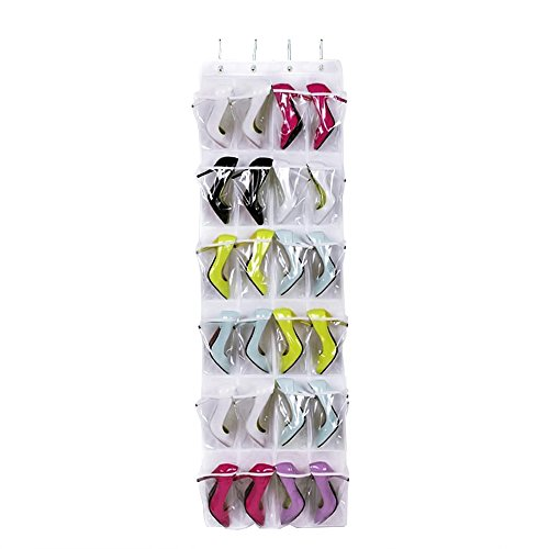 Dailyart 24 Pockets Over the Door Shoe Organizer Hanging Shelf Shoe Rack Storage Stand Organiser Holder Hook,White