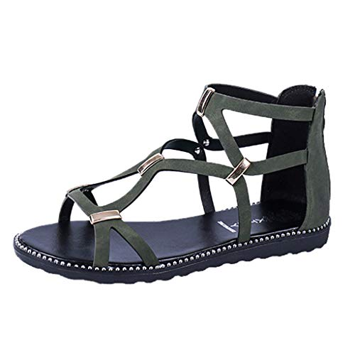 Sanyyanlsy Girls School Style Cross Metal Beading Hollow-Out Sandals Girls Flat Zipper Cover Heel Sandals Ankle Strap Army Green