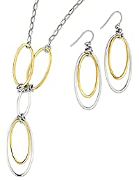 IceCarats 925 Sterling Silver Vermeil Drop Dangle Chandelier Chain Necklace Earrings Set