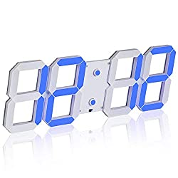 SHSEA Multi-Functional Remote Control Big Digital Wall Clock with Date, Temperature, Countdown for Living Room (Blue)
