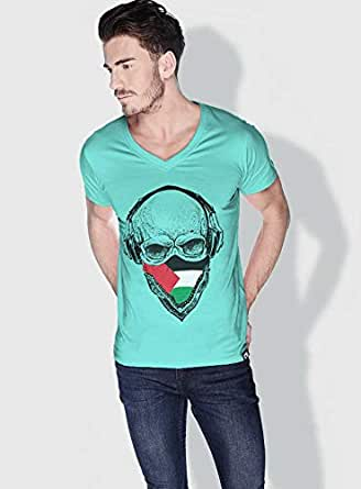 Creo Palestine Skull T-Shirts For Men - Xl, Green