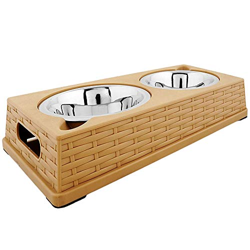 Iconic Pet Color Splash Rattan Double Diner Stainless Steel Dog and Cat Food and Water Bowl Set with Anti-Skid Wicker Finish Riser, Beige Tray, Two 14oz ()