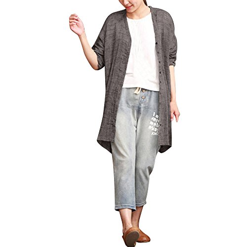 Gray Linen Long JSPOYOU Top Blouse Bohemian Sleeved Cotton Casual Color Solid Cardigan Womens Shirt RxAOBwqPR