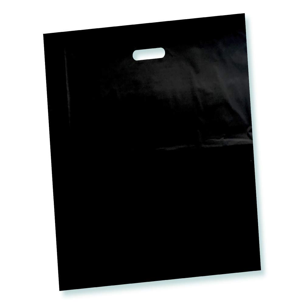 100 Pack 9' x 12' with 2 mil Thick Black Merchandise Plastic Glossy Retail Bags | Die Cut Handles | Perfect for Shopping, Party Favors, Birthdays, Children Parties | Color Black | 100% Recyclable
