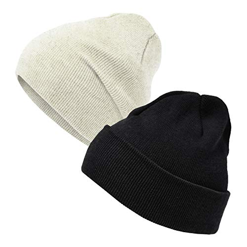 Happy Tree 2 Pack Baby Beanie Hat Soft Knit 100% Cotton Kids Toddler Infant Newborn Hat Beanies Caps, 0-6M