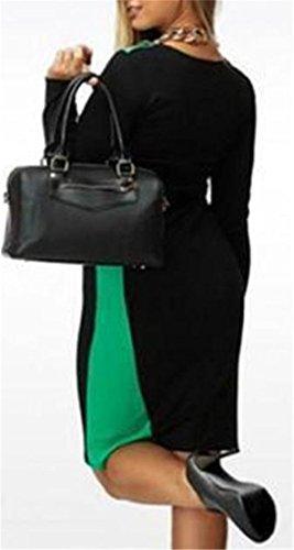 Grande Saveur Des Femmes De Manches Longues Ras Du Cou Taille Plus Robe Midi Moulante Bloc De Couleur Verte