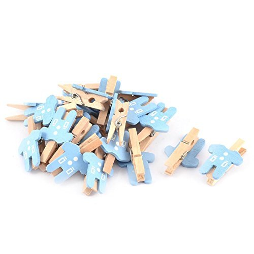 eDealMax Carte Photo Dcoration Vtements Forme Artisanat Mini 20pcs Clip en Bois bleu