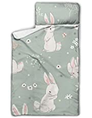 """WYYWCY Rabbit Cute Bunny Painted Animal Kids Travel Sleeping Bag Napping Mats For Preschool With Blanket And Pillow Rollup Design Great For Preschool Daycare Sleepovers 50""""x20"""""""