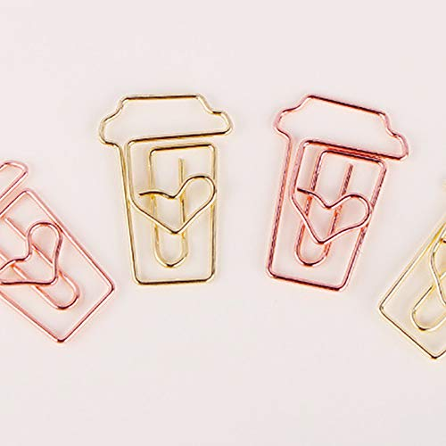 MoGist Rose Gold Coffee Cup Pin Shaped Paper Clip Cartoon Paper Pin Creative Bookmark Clip (Rose Gold)