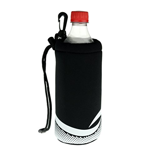 ProActive Sports Neoprene Bottle Holder with Drawstring and Bag Clip for 16-20oz Bottles (Plastic Bottle Water Carrier)