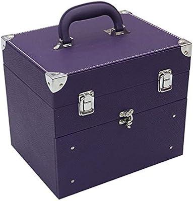 WYCD Maletín De Maquillaje Organizador Cosméticos Profesional Estuche para Maquillaje Caja De Belleza Portátil Varios Compartimientos Aluminio 27 X 21 X 24cm,Purple: Amazon.es: Hogar