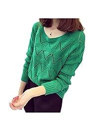 ARJOSA Women's Cotton Blends Cable Knit Crochet Crewneck Pullover Casual Sweater