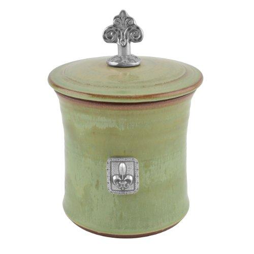Oregon Stoneware Studio Fleur de Lys Garlic Pot with Pewter Finial, Pistachio