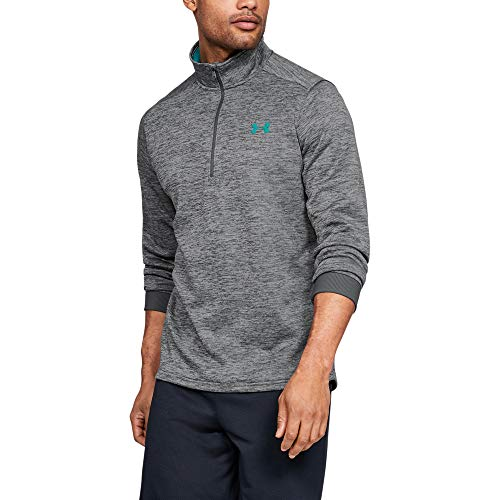 Under Armour Men's Armour Fleece 1/2 Zip, Pitch Gray (012)/Teal Rush, Small (Mens Sweater Quarter Zip)