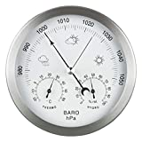 GardenMate 3 in 1 Weather Station for indoor and outdoor use - Barometer Thermometer Hygrometer - bimetallic with stainless steel frame - diameter 14 cm