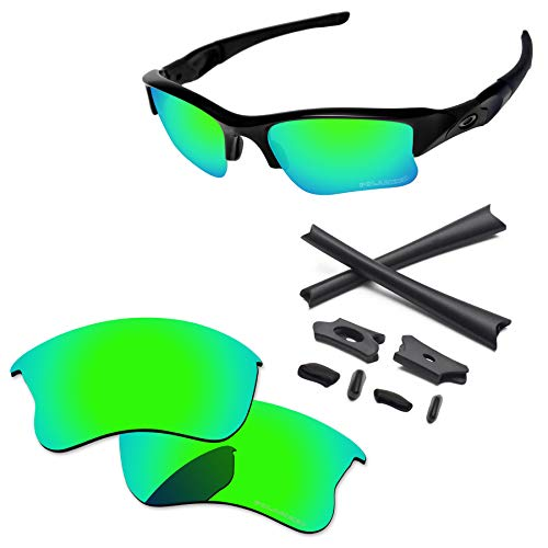 PapaViva Lenses Replacement & Rubber Kits for Oakley Flak Jacket XLJ Bluish Green - Polarized