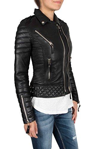 Aries Leathers Women New Biker Real Lambskin Leather Jacket WJ04 (M, Black) ()