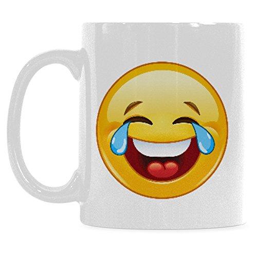 InterestPrint 11 Ounce White Ceramic Yellow Cute Laughing Emoji Funny Travel Coffee Mug Cup, Tears of Joy Face Emoticon Coffee Mug Christmas Birthday Gifts ()