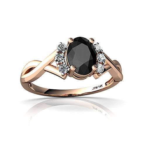 14kt Rose Gold Black Onyx and Diamond 7x5mm Oval Victorian Twist Ring - Size 9