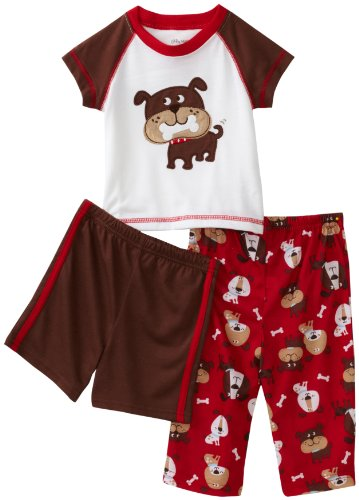 Little Me Baby Boys' Dog Print 3 Piece Poly Set, Red Multi, 24 Months
